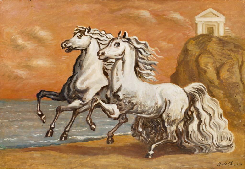 de Chirico - Due cavalli in riva al mare
